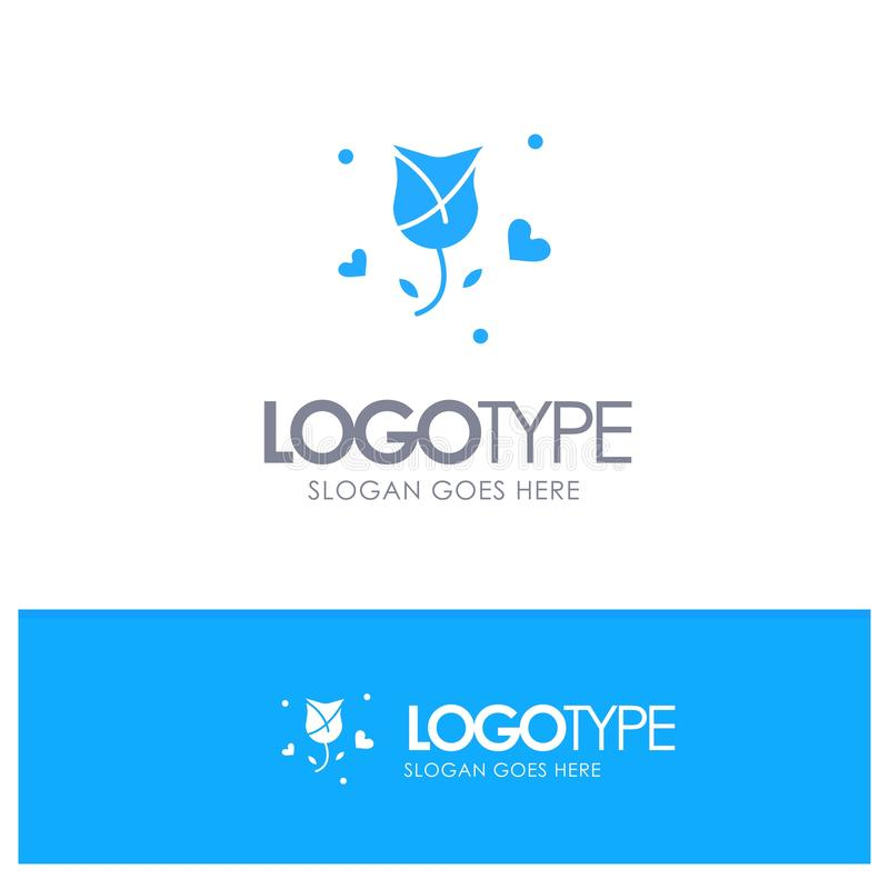Nam, Bloem, Liefde toe, stellen, Valentine Blue Solid Logo met plaats voor tagline voor vector illustratie