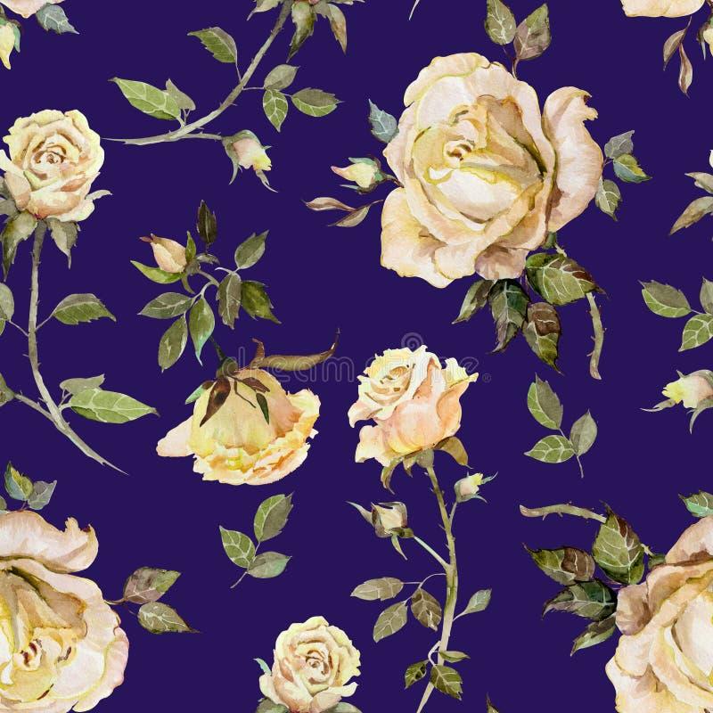 Nam bloem op een takje toe Naadloos BloemenPatroon Het Schilderen van de waterverf Hand getrokken illustratie royalty-vrije illustratie