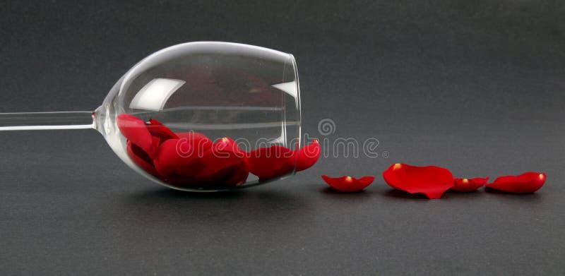 Nam bloemblaadjes in een wijnglas toe royalty-vrije stock fotografie
