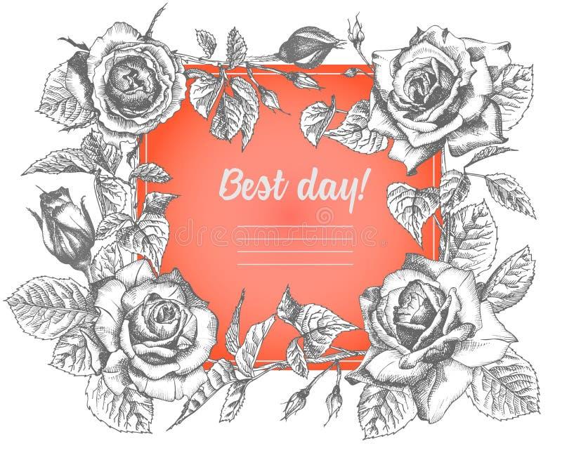 Nam bloemschets in gravurestijl en rood hart op wit toe Uitstekende vector de dagkaart van illustratievalentijnskaarten Een vecto vector illustratie