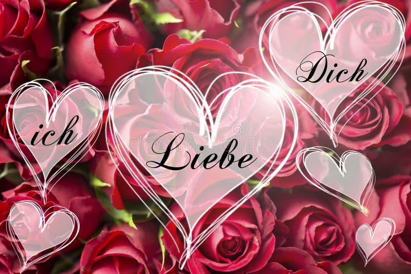 Nam boeket een Duitse liefde u bericht in de kaartvalentijnskaart van hart lichte harten toe stock afbeelding