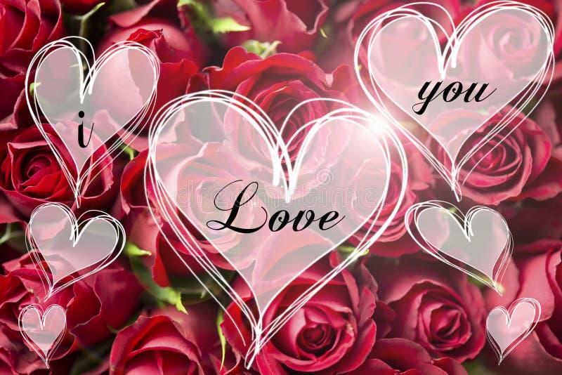 Nam boeket een liefde u bericht in de kaartvalentijnskaart van hart lichte harten toe royalty-vrije stock afbeelding