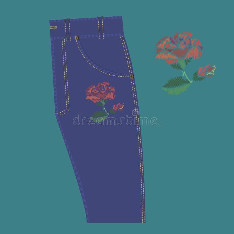 Nam borduurwerk op jeans toe stock illustratie