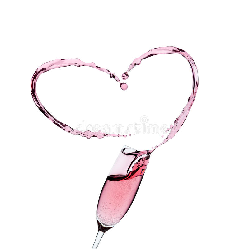 Nam champagneglas met een plons toe stock foto