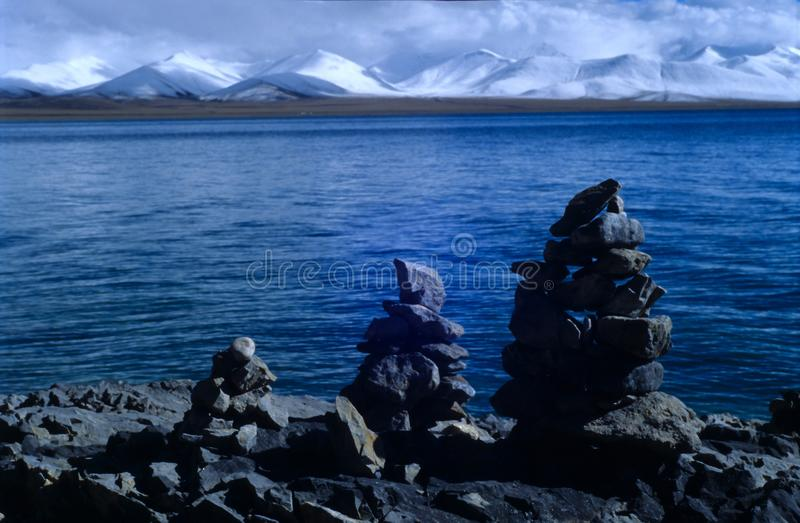 Nam co lake & nyainqentanglha mountains. The Nam Co lake & Nyainqentanglha Mountains, Kodak 100vs, Tibet, 2005 royalty free stock photography