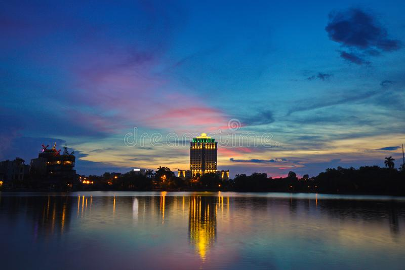 Nam Cuong Namdinh Hotel at sunset. This is a 4 star hotel recently being in operation. NAMDINH, VIETNAM - JULY 28, 2019: Nam Cuong Namdinh Hotel at sunset. This stock photography