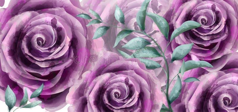 Nam de Vector van de de banneraffiche van de bloemenwaterverf toe Mooie uitstekende purpere kleuren bloemendecors vector illustratie