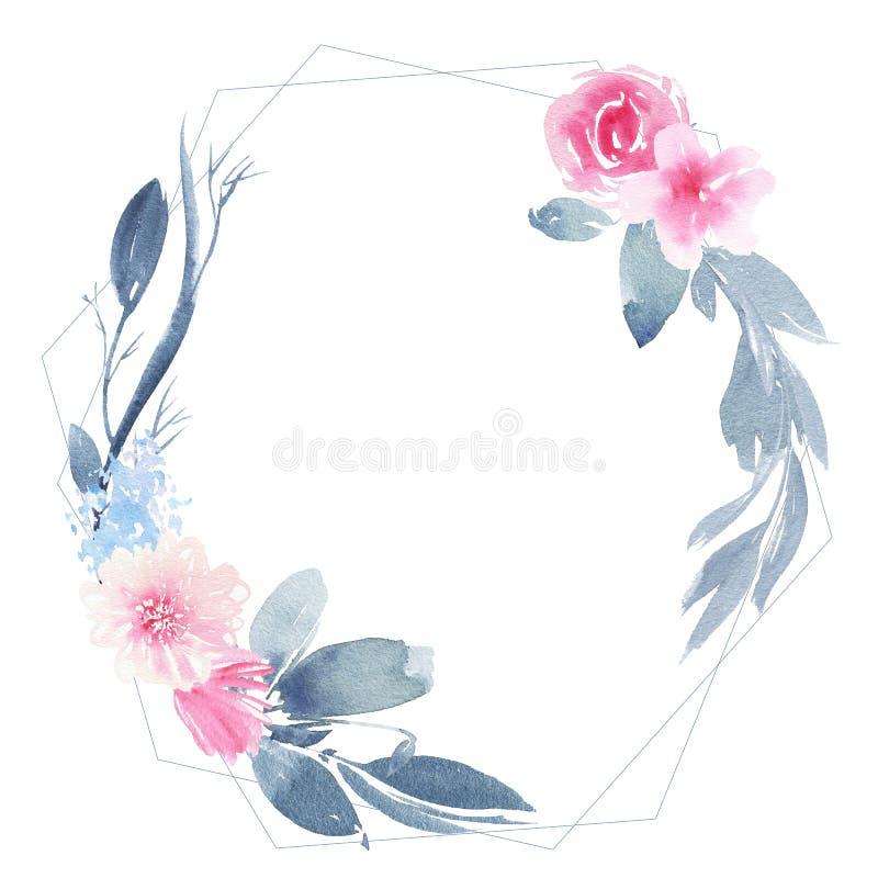 Nam de waterverf geometrische ronde kroon met bloemroze en indigobladeren toe stock illustratie
