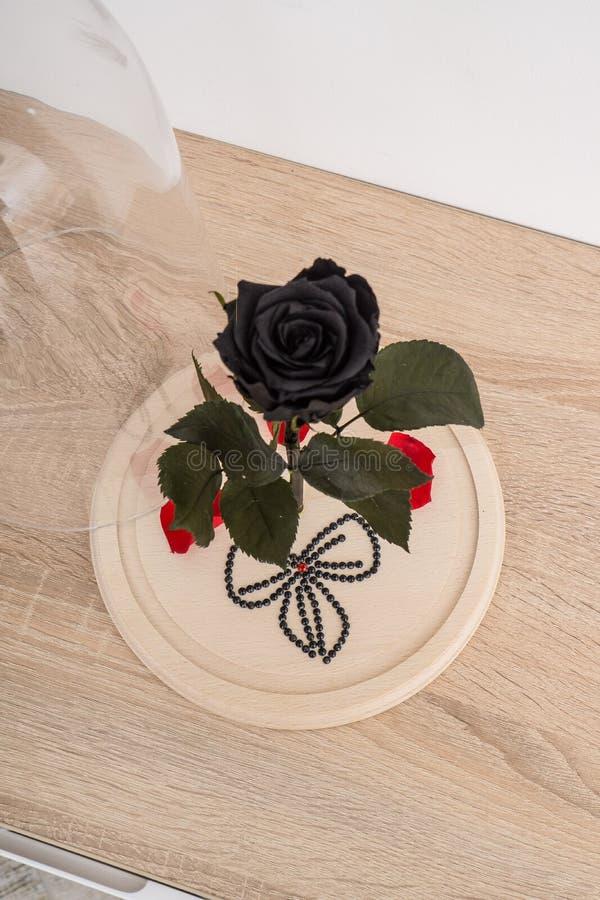 Nam en bloemblaadjes met rood hart van bergkristallen toe stock fotografie