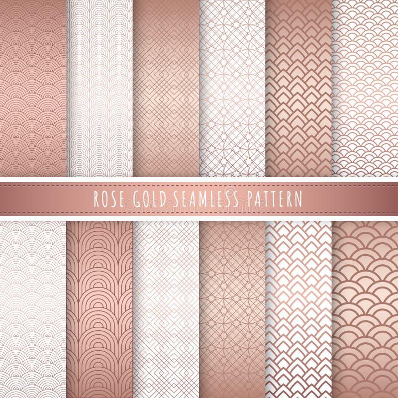 Nam gouden patroon naadloze inzameling toe Roze gouden abstracte patronen Reeks van 12 Metaal gouden luxeachtergrond vector illustratie