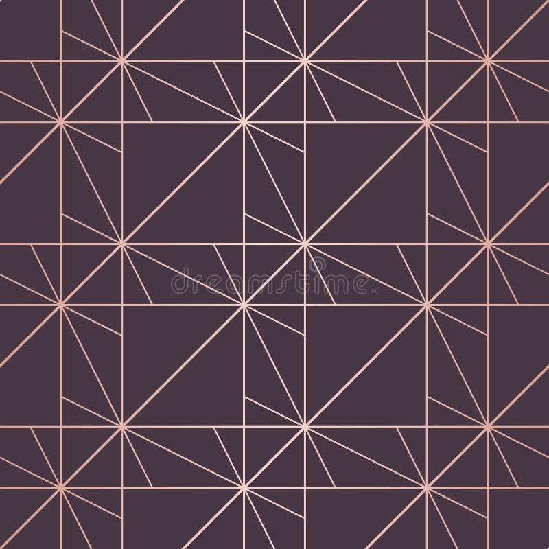 Nam gouden patroon toe Vector geometrische lijnen naadloze textuur Purple en Goud stock illustratie