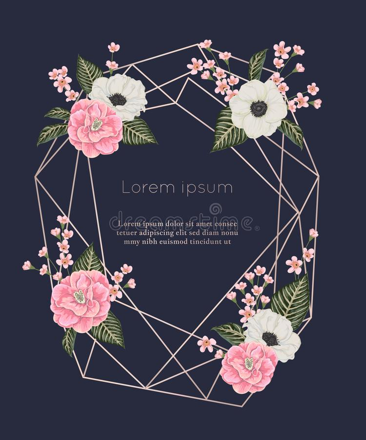 Nam gouden veelhoekig kader met bloemenelementen in waterverfstijl toe Roze camelia's, anemoonbloemen en alstroemeria royalty-vrije illustratie