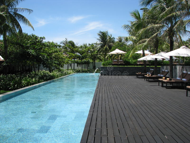 Nam Hai Pool. Photo of the end of the lap pool at the nam hai resort in hoi an stock images