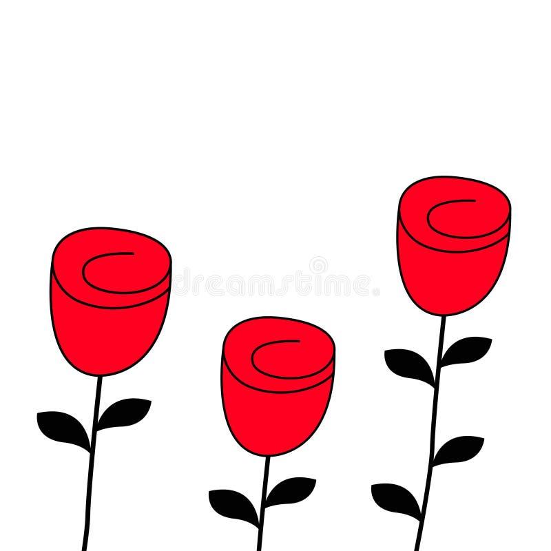 Nam het pictogramreeks van de bloembloesem toe De gelukkige kaart van de de liefdegroet van de Valentijnskaartendag Rood en zwart royalty-vrije illustratie