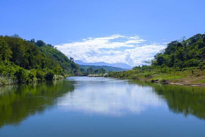 Nam Khan river in Laos. Beautiful Nam Khan river and its surroundings in north Laos near Luang Prabang stock photos