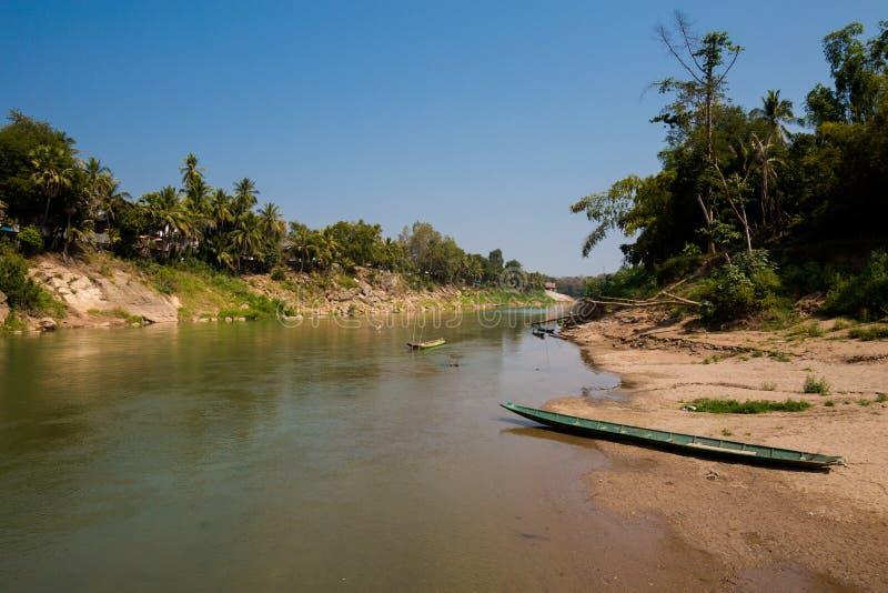 Nam Khan river Luang Prabang. Nam Khan river taken in touristic Luang Prabang in Laos. Colorful scenery of south east Asia stock image