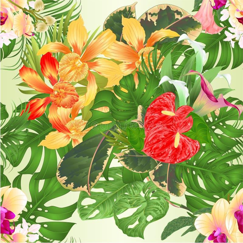 Nam multi gekleurde bloem en bladeren op een witte uitstekende vector editable illustratie als achtergrond toe stock illustratie