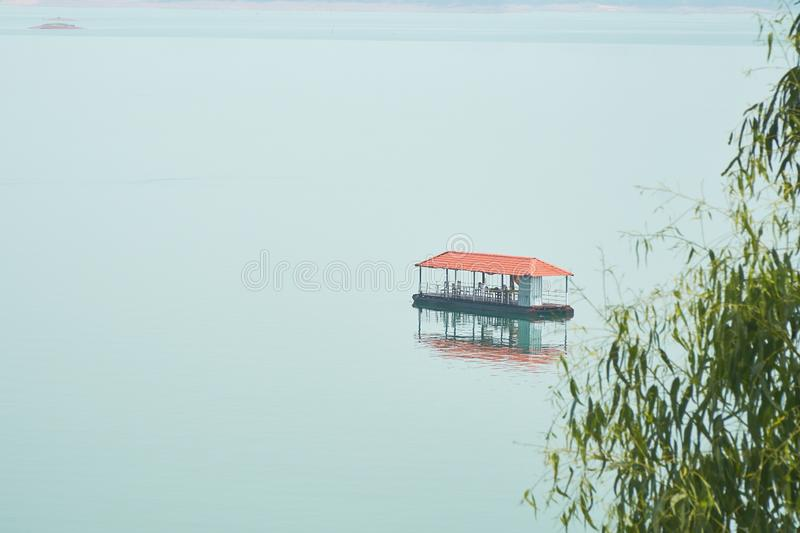 The Nam Ngum Reservoir, A Small Restaurant in the Central of the Reservoir. Tourists Like to Picnic Here royalty free stock photography