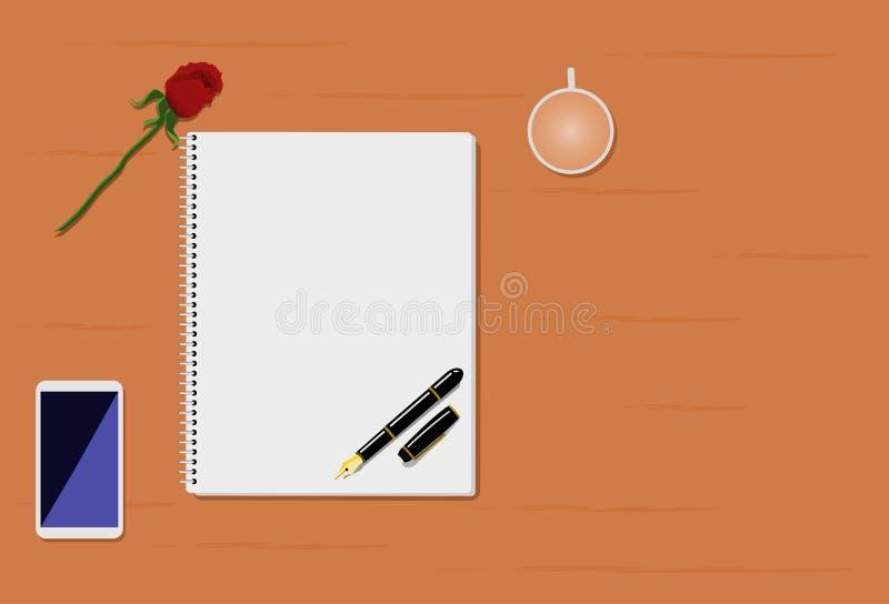 Nam, pen, mobiele telefoon, boek en koffiekop op bruine houten lijst toe stock illustratie