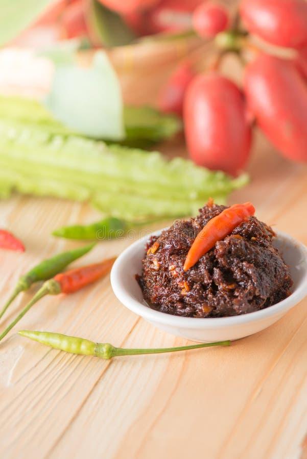 Nam Prig Pha, ταϊλανδική πικάντικη εμβύθιση τσίλι στοκ εικόνα