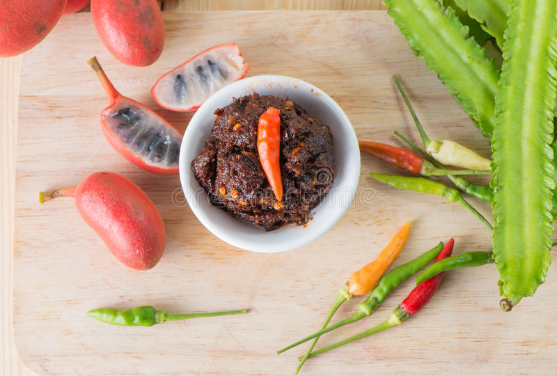 Nam Prig Pha, ταϊλανδική πικάντικη εμβύθιση τσίλι στοκ φωτογραφία