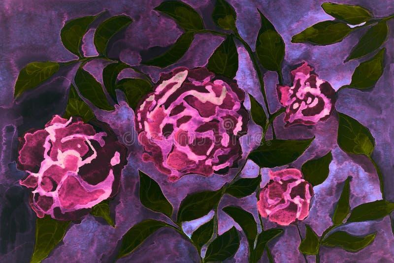 Nam psychedelische fantasiebloemen op een donkere lilac achtergrond toe stock illustratie
