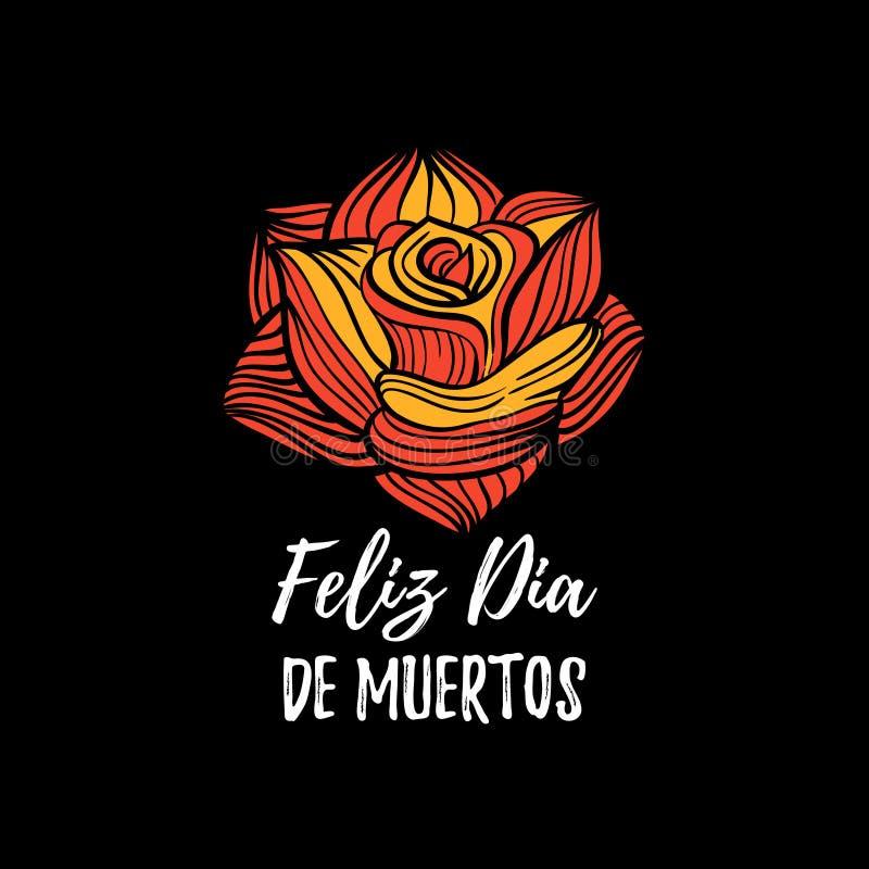 Nam vectorillustratie met Feliz Dia De Muertos, het vertaalde Gelukkige Halloween-van letters voorzien toe De uitnodigingskaart v vector illustratie