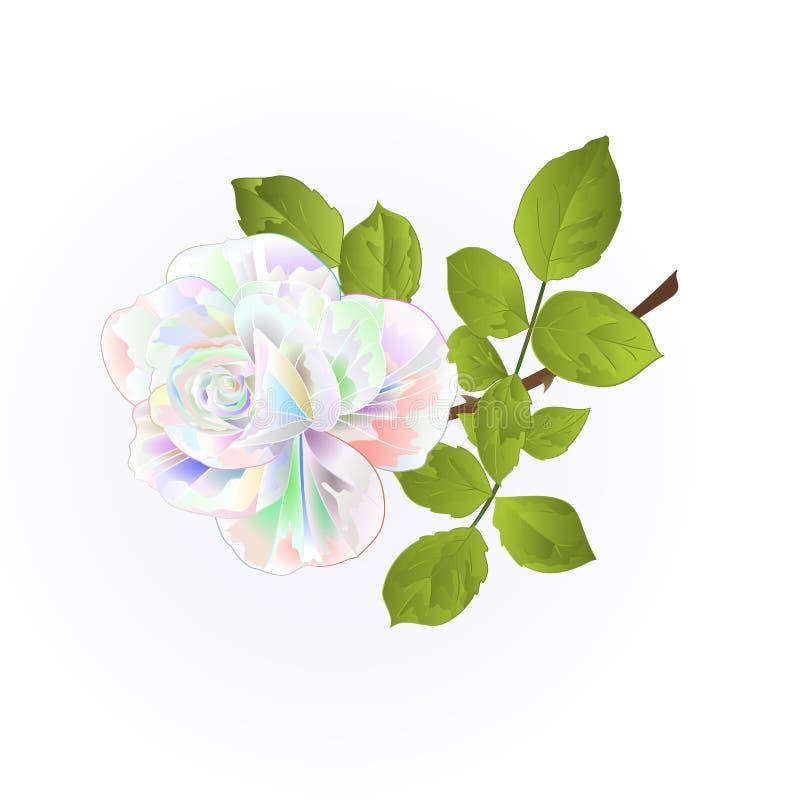 Nam veelkleurig takje met bladeren op een witte uitstekende vectorillustratie toe als achtergrond de editable hand trekt vector illustratie