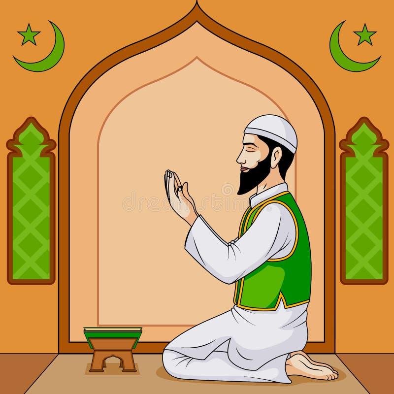 Namaaz de offre de musulmans sur Eid illustration stock