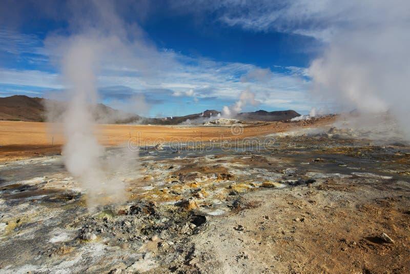 Namafjall Geotermiczny teren, Hverir zdjęcia royalty free