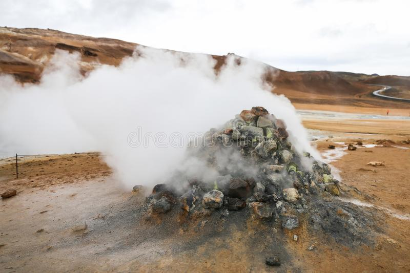 Namafjall geotermiczny teren w Iceland obraz royalty free