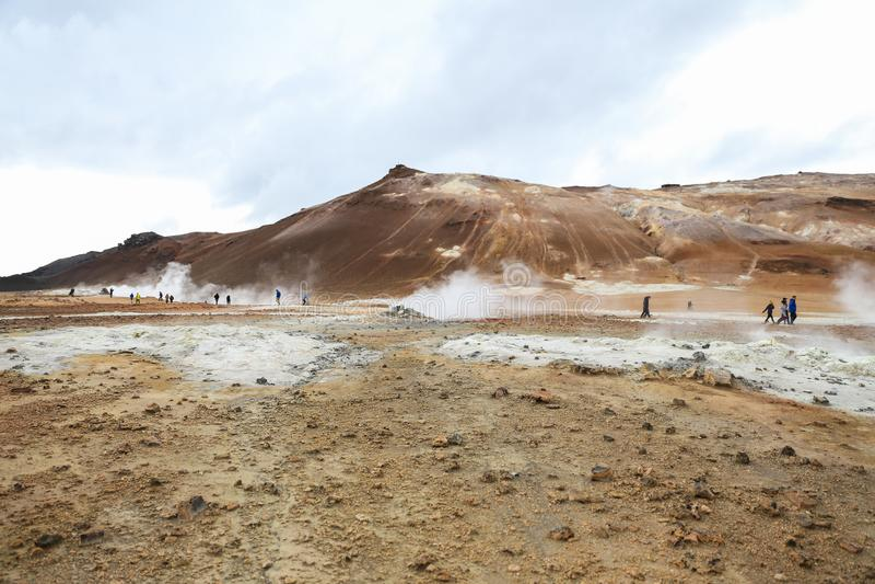 Namafjall geotermiczny teren w Iceland zdjęcia royalty free