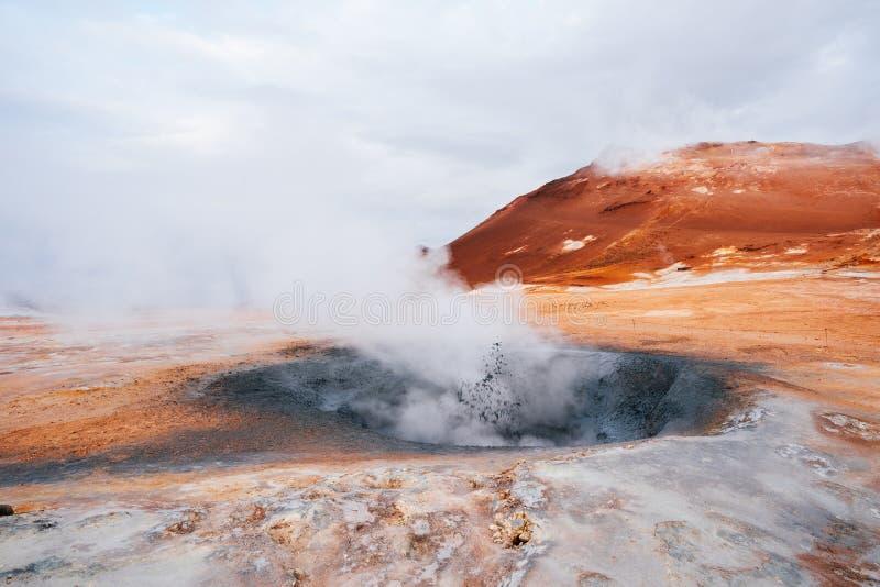 Namafjall - geotermiczny teren w polu Hverir, Iceland obraz royalty free