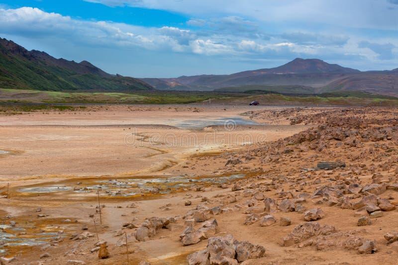Namafjall, Geotermiczny teren z siarek polami w Iceland obraz stock