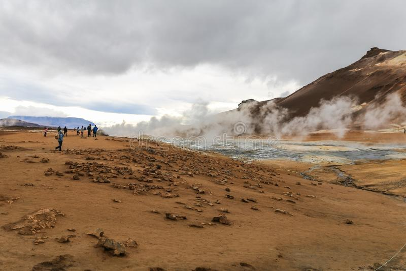 Namafjall geothermisch gebied in IJsland royalty-vrije stock afbeelding
