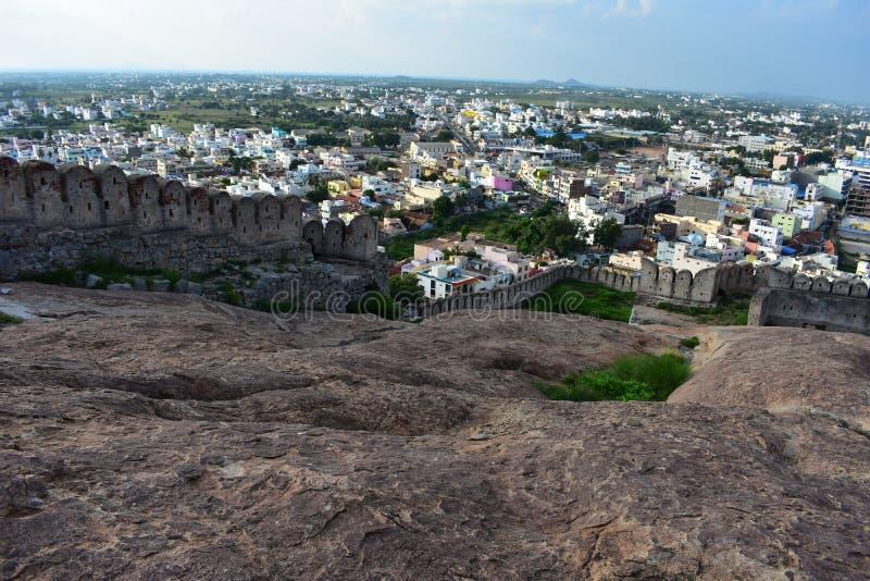 Namakkal, Tamilnadu - India - October 17, 2018: The centre of Namakkal town. Namakkal Fort is a historic fort present in Namakkal in Namakkal district in the royalty free stock photos