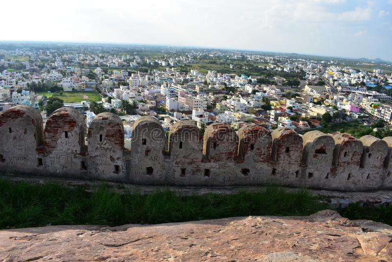 Namakkal, Tamilnadu - India - October 17, 2018: Namakkal Fort Side view. Namakkal Fort is a historic fort present in Namakkal in Namakkal district in the South stock images