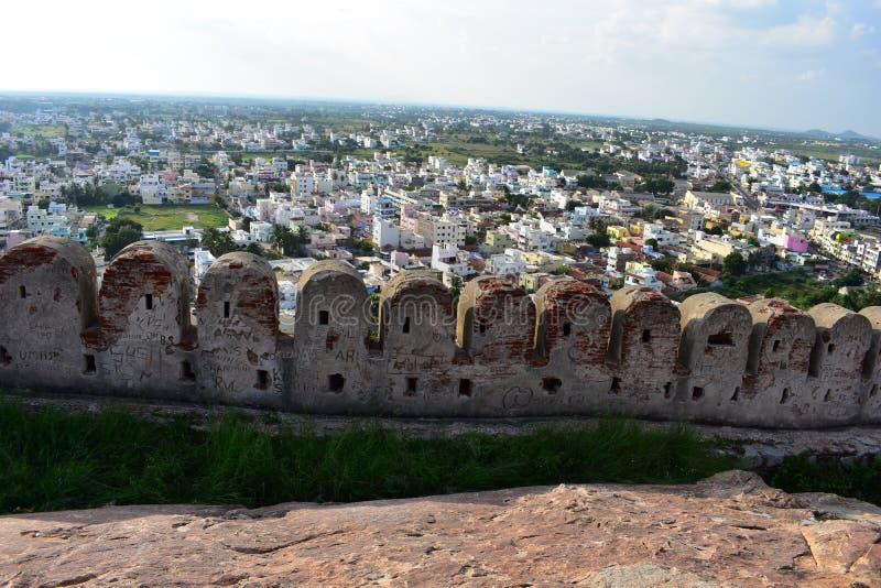 Namakkal, Tamilnadu - Ινδία - 17 Οκτωβρίου 2018: Πλάγια όψη οχυρών Namakkal στοκ εικόνες