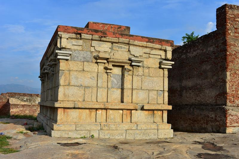 Namakkal, Tamilnadu - India - October 17, 2018: Narasimha Murthy Temple. Namakkal Fort is a historic fort present in Namakkal in Namakkal district in the South royalty free stock photos