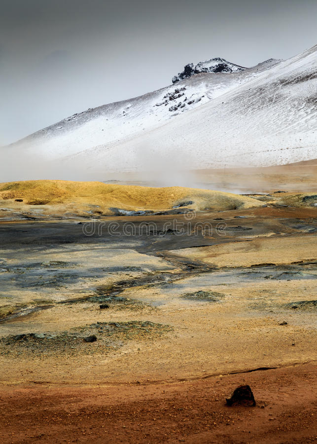 Namaskard geothermal active volcanic area in North West Iceland. Boiling mud royalty free stock images