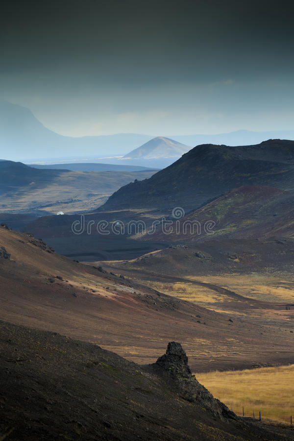 Namaskard geothermal volcanic area in North West Iceland. Namaskard geothermal active volcanic area in North West Iceland boiling mud royalty free stock images