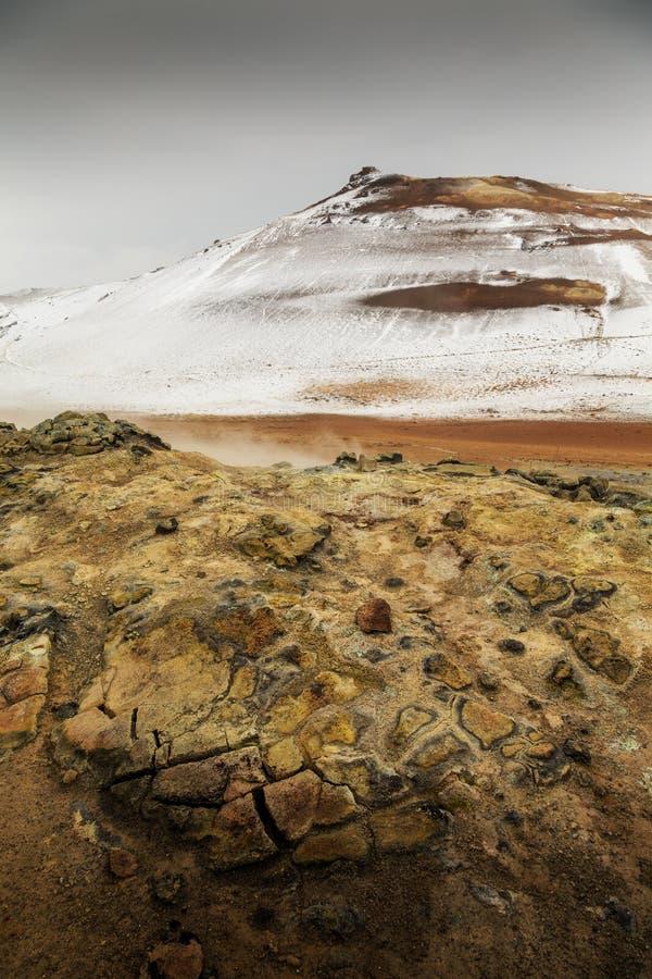 Namaskard geothermisch actief vulkanisch gebied royalty-vrije stock afbeelding