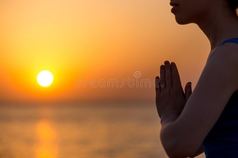 Namaste姿态 库存照片