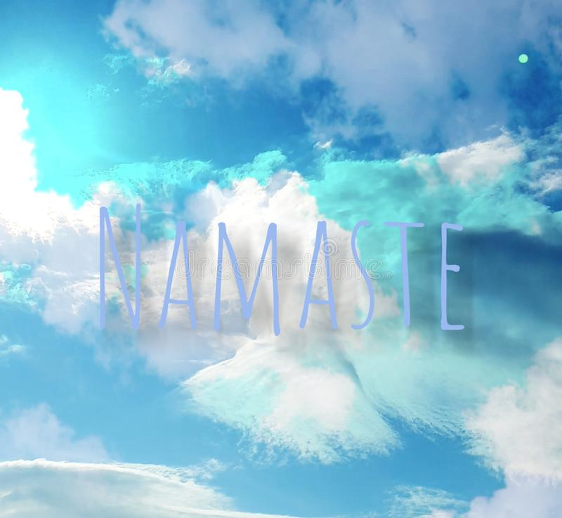 Namaste, angelic cloud in shades of blue and white. Namaste, angelic cloud in shades of turqoise, blue and white royalty free stock photo