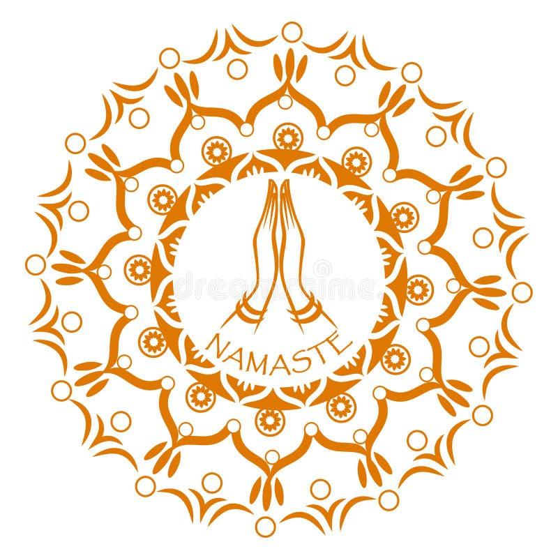 Namaste mudra in mandala circle. royalty free stock photo