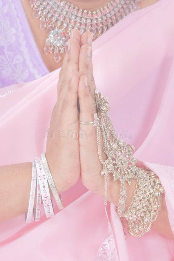 Namaste in pastel royalty free stock photo