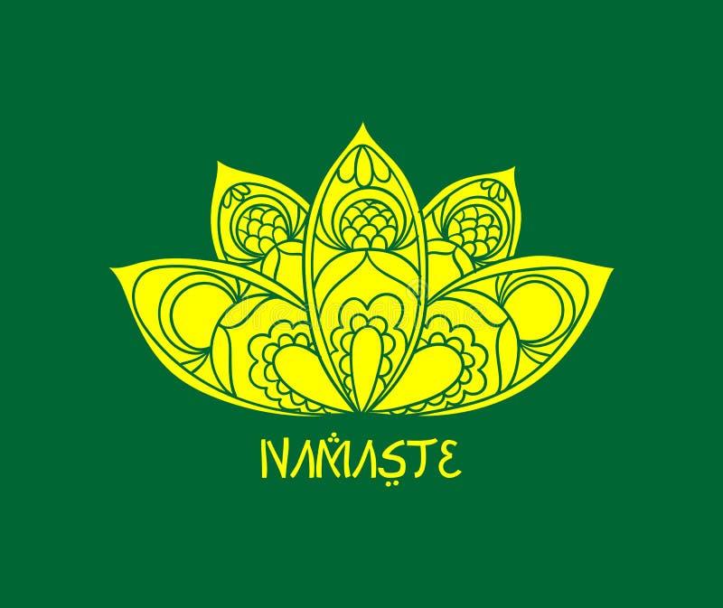 Namaste yoga Logo Illustration Art stock illustrationer