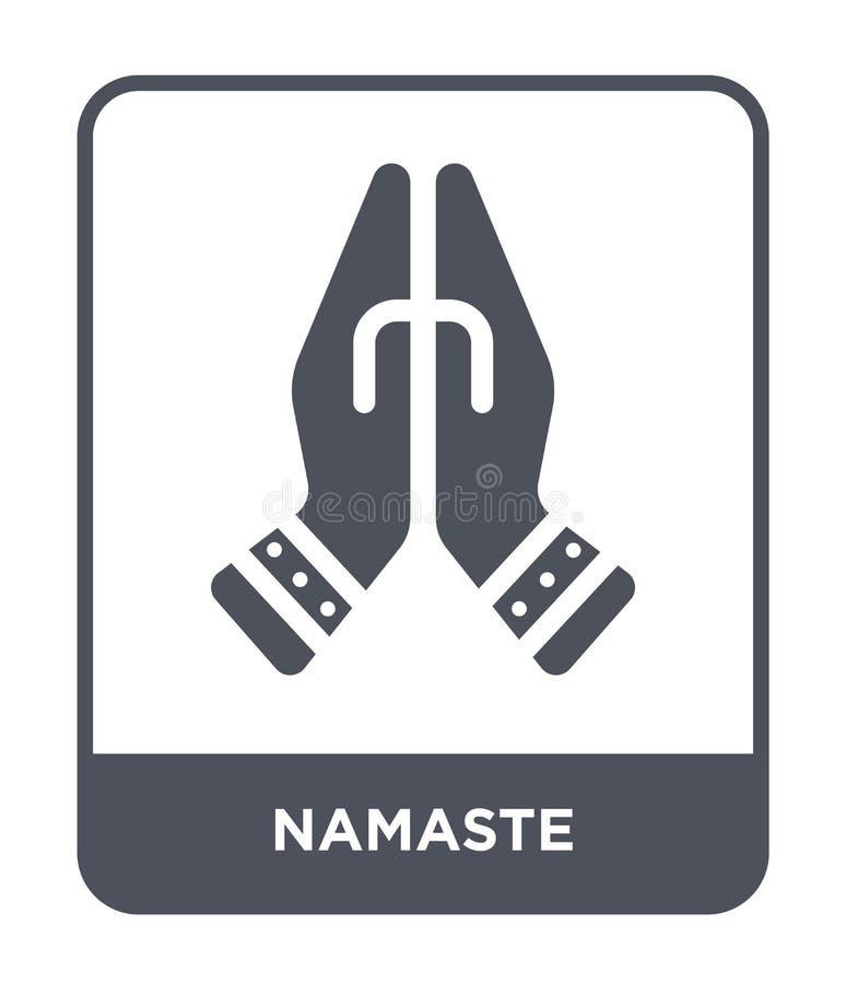 namastesymbol i moderiktig designstil namastesymbol som isoleras på vit bakgrund enkelt och modernt plant symbol för namastevekto vektor illustrationer