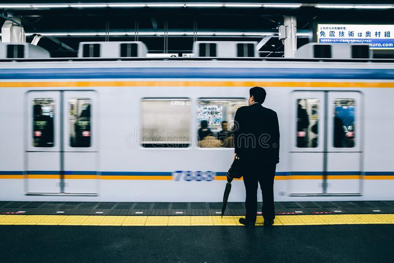 Namba地铁站平台在大阪,日本 库存图片