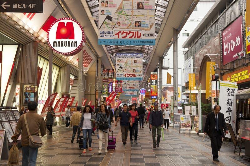 Nambadistrict van Osaka, Japan stock fotografie